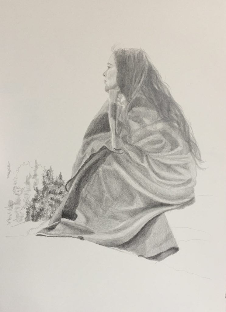 """""""The Rock"""" 15x11, © Janice Tanton 2019. Pencil on Arches 140 lb HP."""
